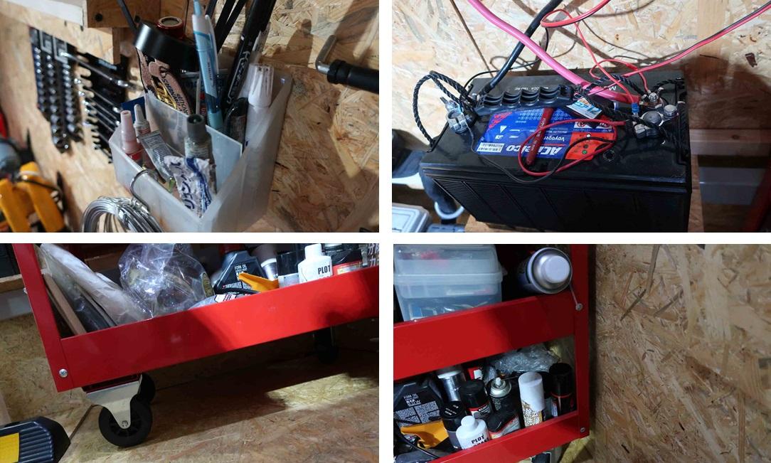 ガレージ内のキャビネットのスキマやツールや入り組んだ配線のある、掃除しにくい箇所の写真集