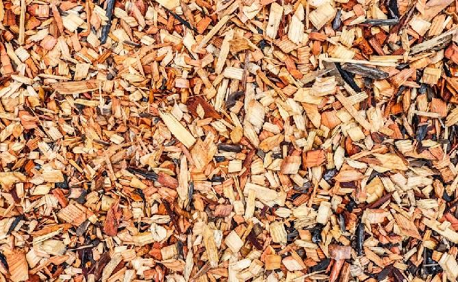一面に広がる木材のチップ